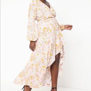 Eloquii Puff Sleeve High Low Hem Dress